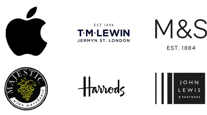 Apple, TM Lewin, M&S, Majestic Wines, Harrods, John Lewis